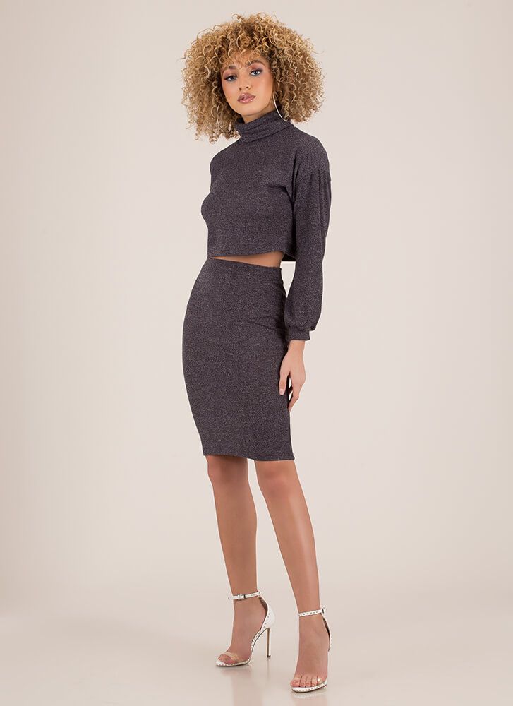 Get Cozy Turtleneck Top And Skirt Set BLACK