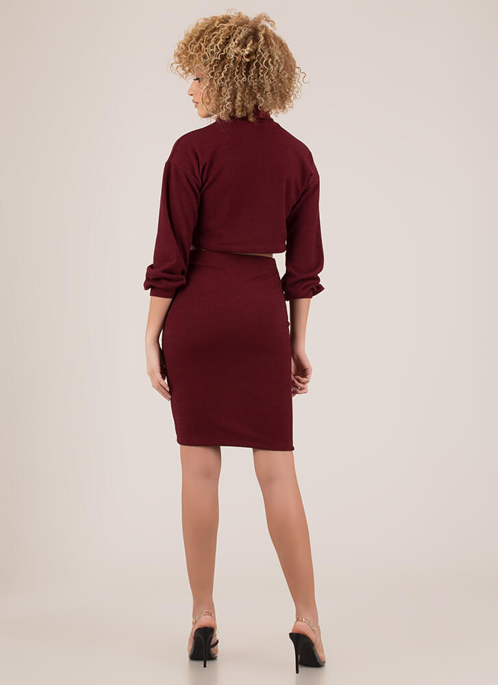 Get Cozy Turtleneck Top And Skirt Set BURGUNDY