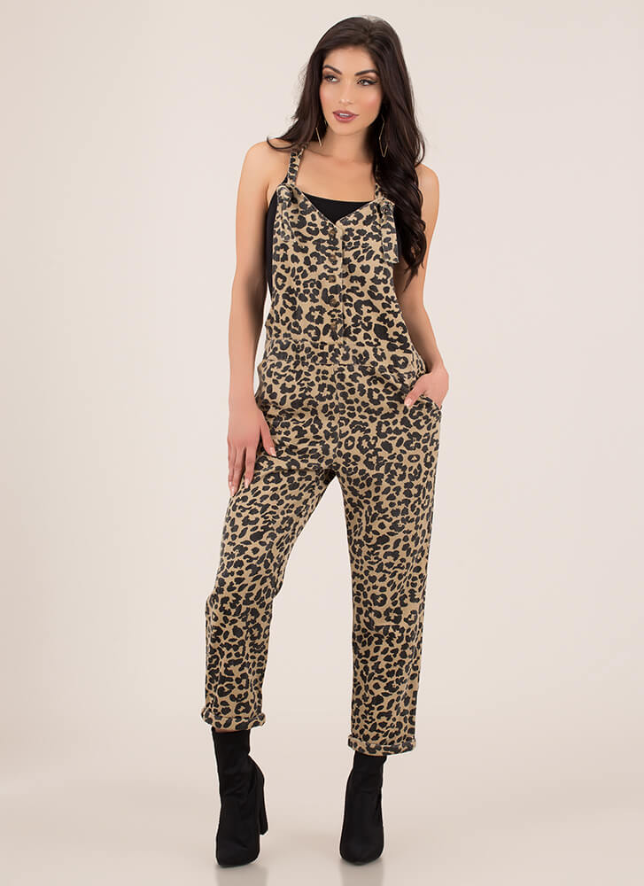 Can You Spot Me Leopard Overalls TAUPE (Final Sale)