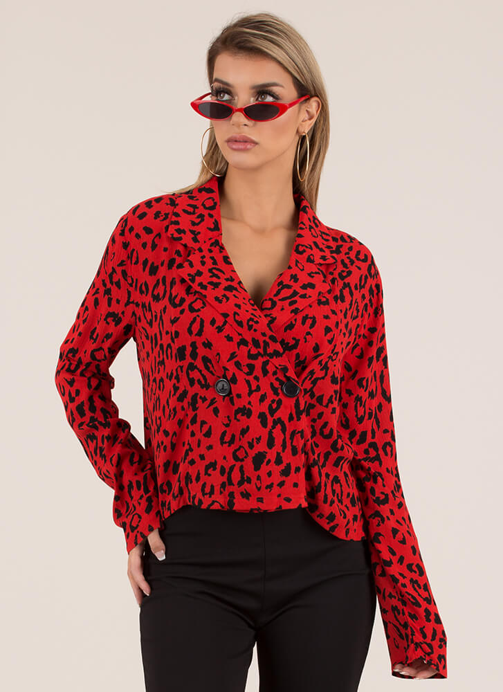 Wild Thoughts Leopard Blazer Top RED