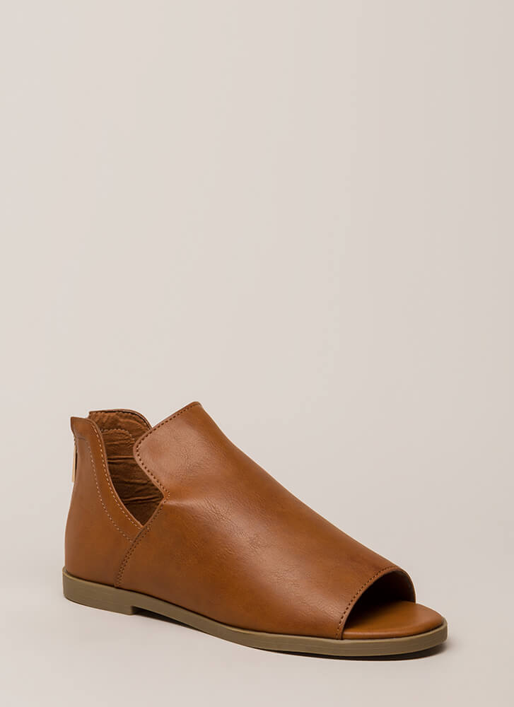 Hippie Chic Cut-Out Peep-Toe Flats CHESTNUT
