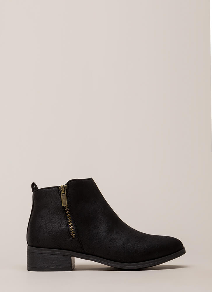 Here's The Lowdown Zippered Booties BLACK (You Saved $21)