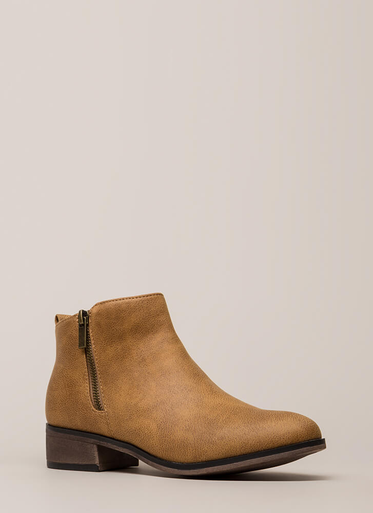 Here's The Lowdown Zippered Booties TAN