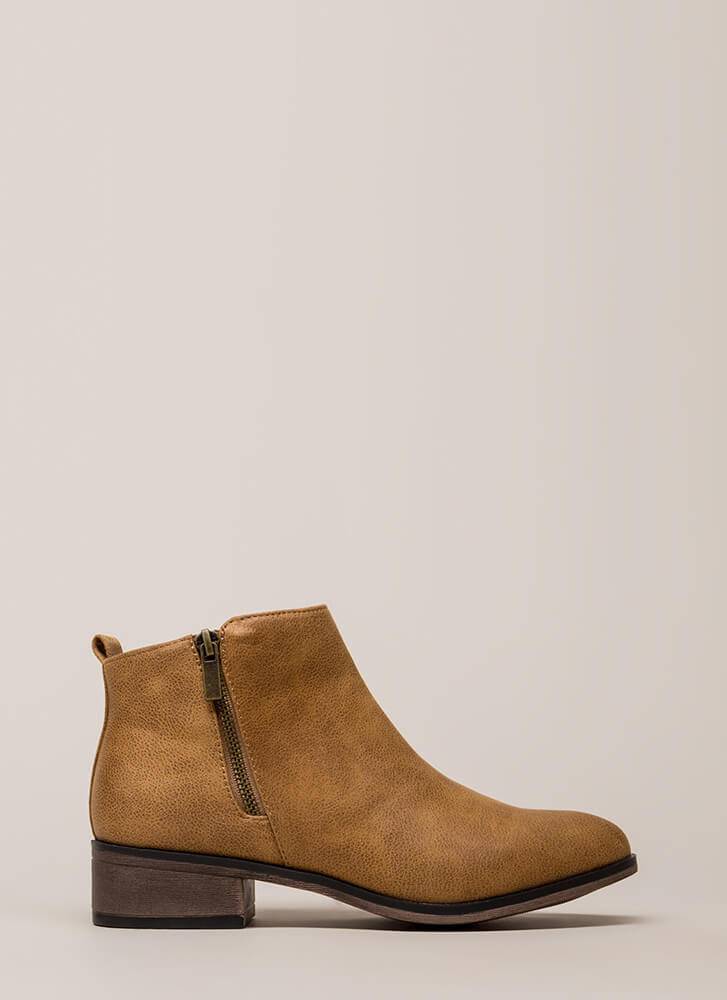 Here's The Lowdown Zippered Booties TAN (Final Sale)
