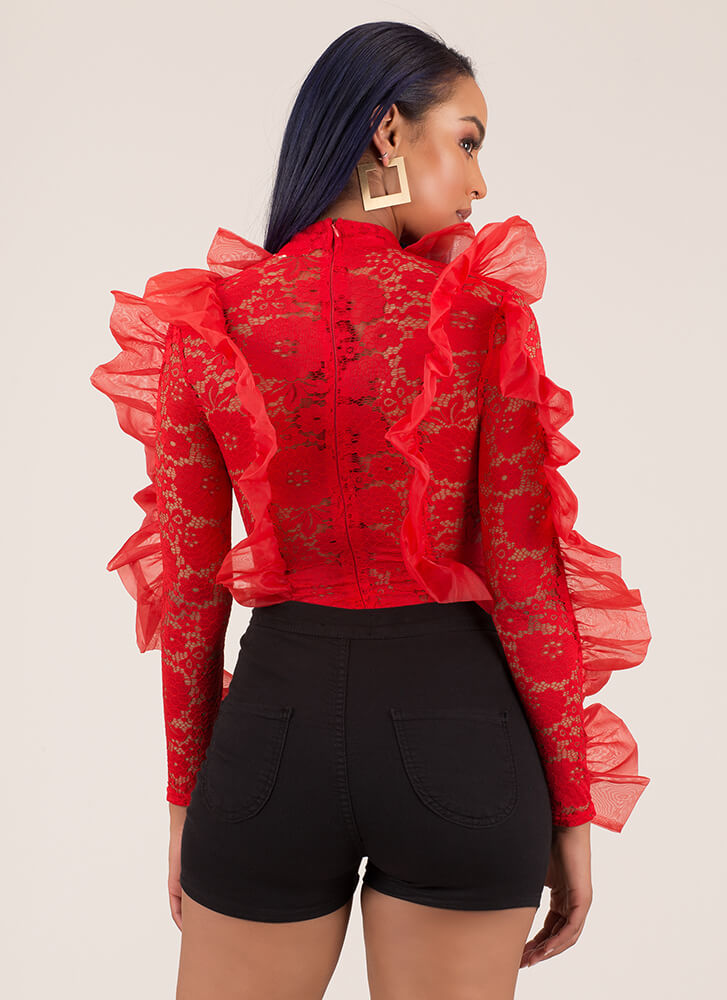 Ace Of Lace Sheer Ruffled Bodysuit RED (You Saved $23)