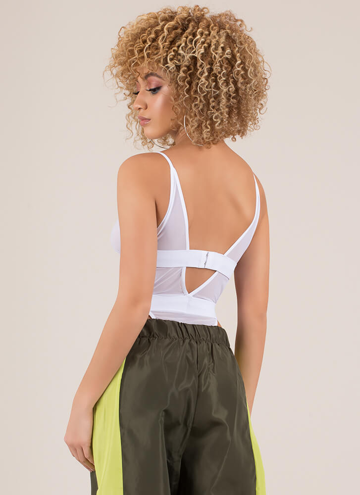 Girl Band Cut-Out Mesh Bodysuit WHITE
