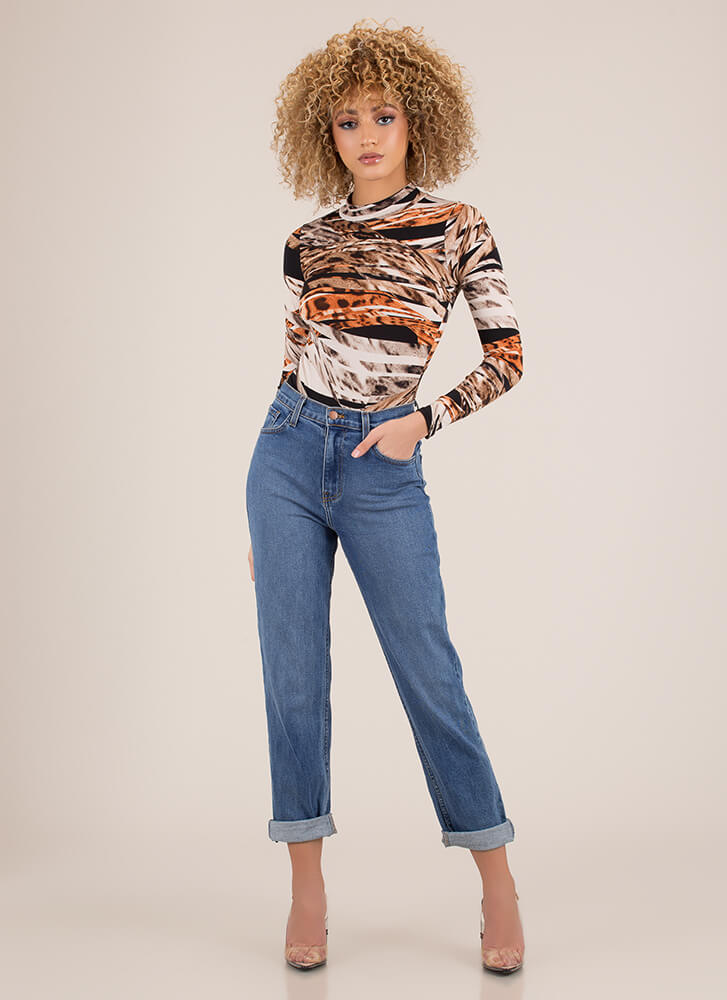 Wild Whirlwind Abstract Print Bodysuit BROWNMULTI