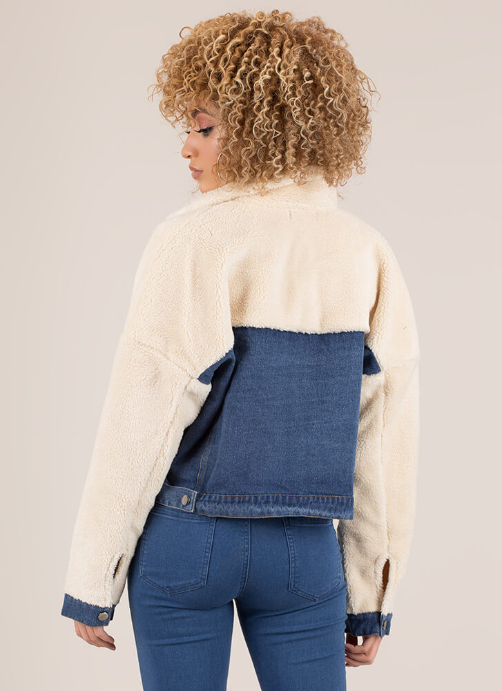 Cute And Cozy Faux Shearling Jean Jacket BLUE
