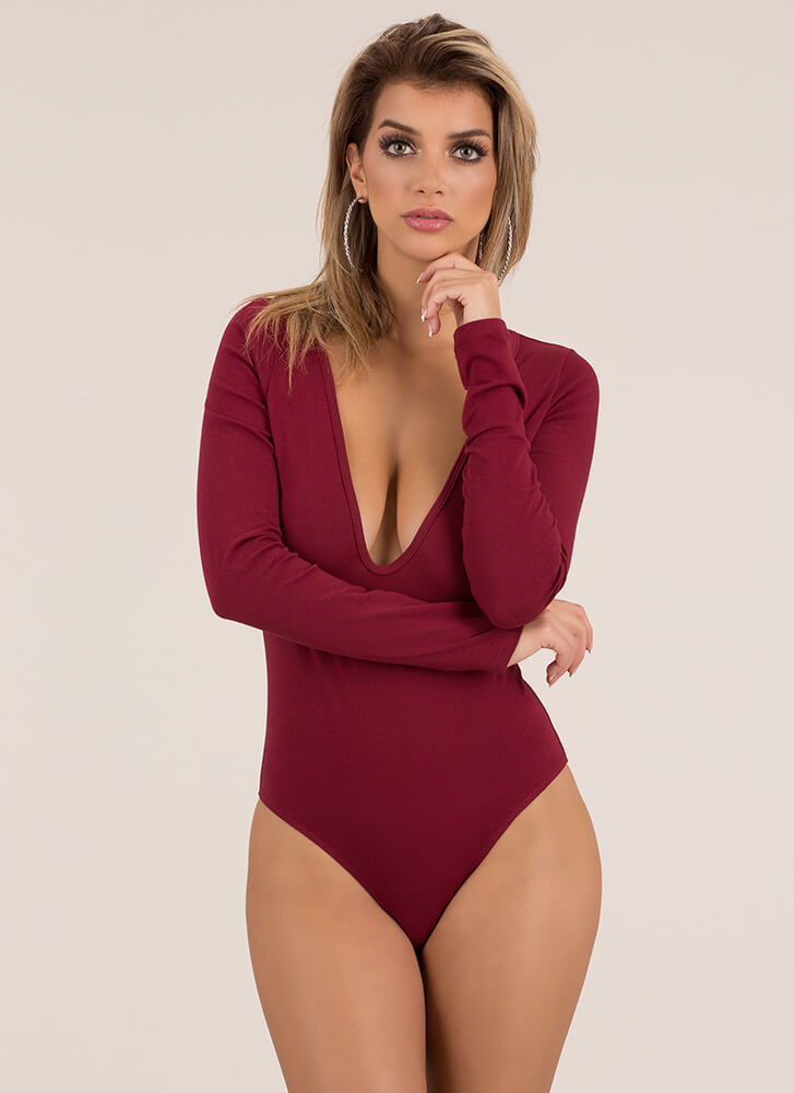 The Answer Plunging Thong Bodysuit BURGUNDY (You Saved $7)