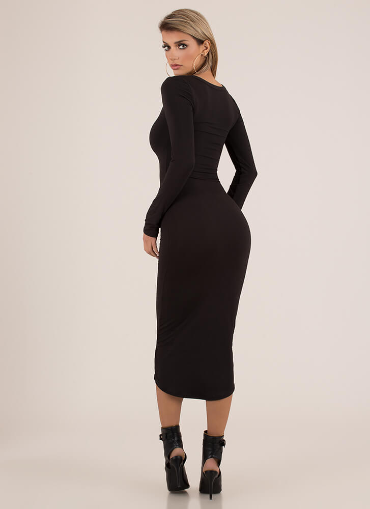 Open Up To Me Notched Maxi Dress BLACK