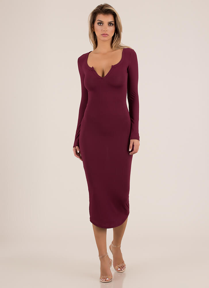 Open Up To Me Notched Maxi Dress BURGUNDY