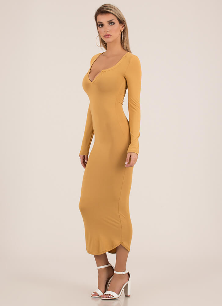 Open Up To Me Notched Maxi Dress CAMEL