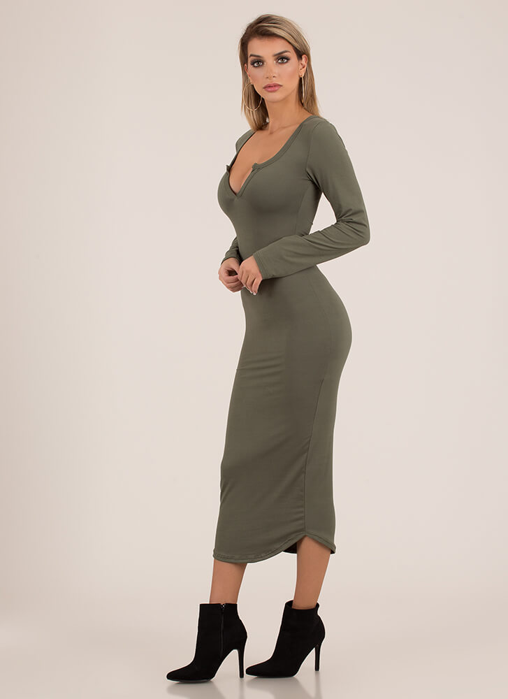 Open Up To Me Notched Maxi Dress OLIVE