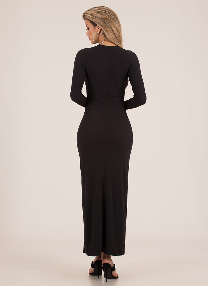 I Love Laces Rib Knit Maxi Dress BLACK