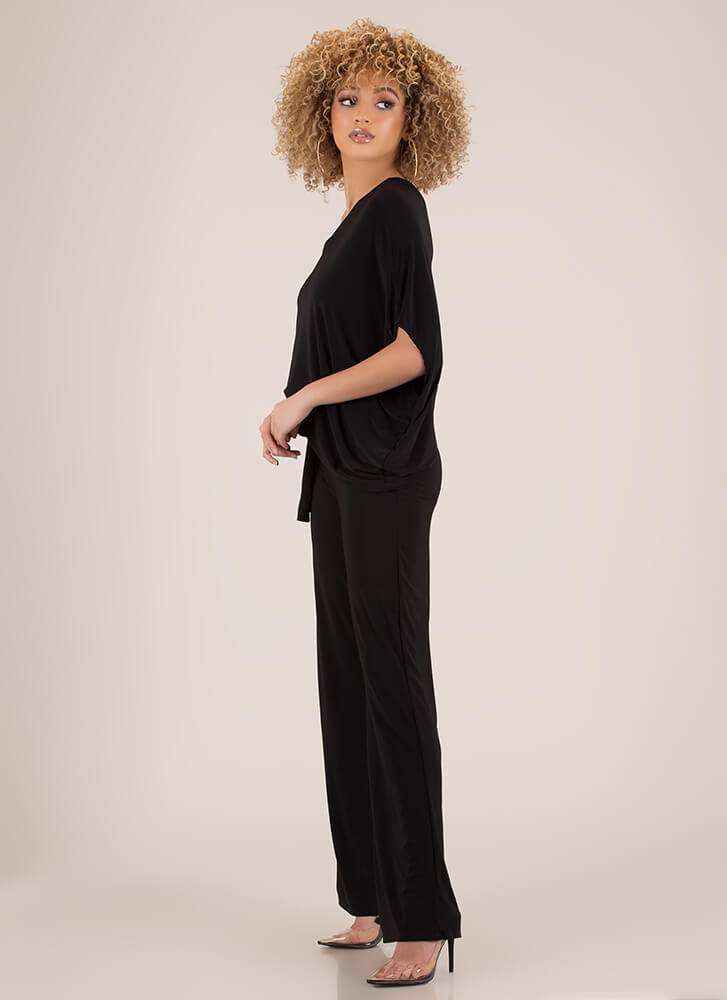 One-Sided Affair Draped Dolman Jumpsuit BLACK (You Saved $11)
