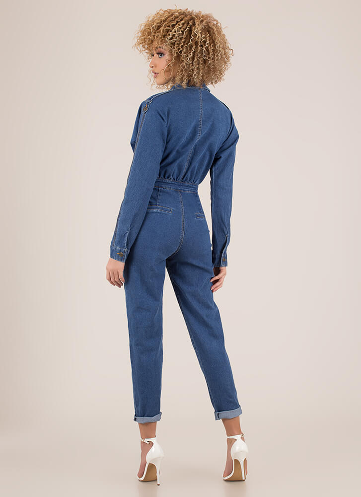 Good Jeans Pleated Denim Jumpsuit BLUE (You Saved $32)