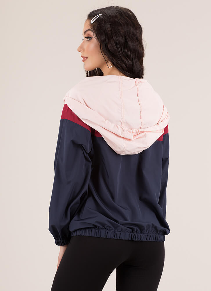Hoodie Kinda Girl Windbreaker Top NAVYMULTI (You Saved $23)