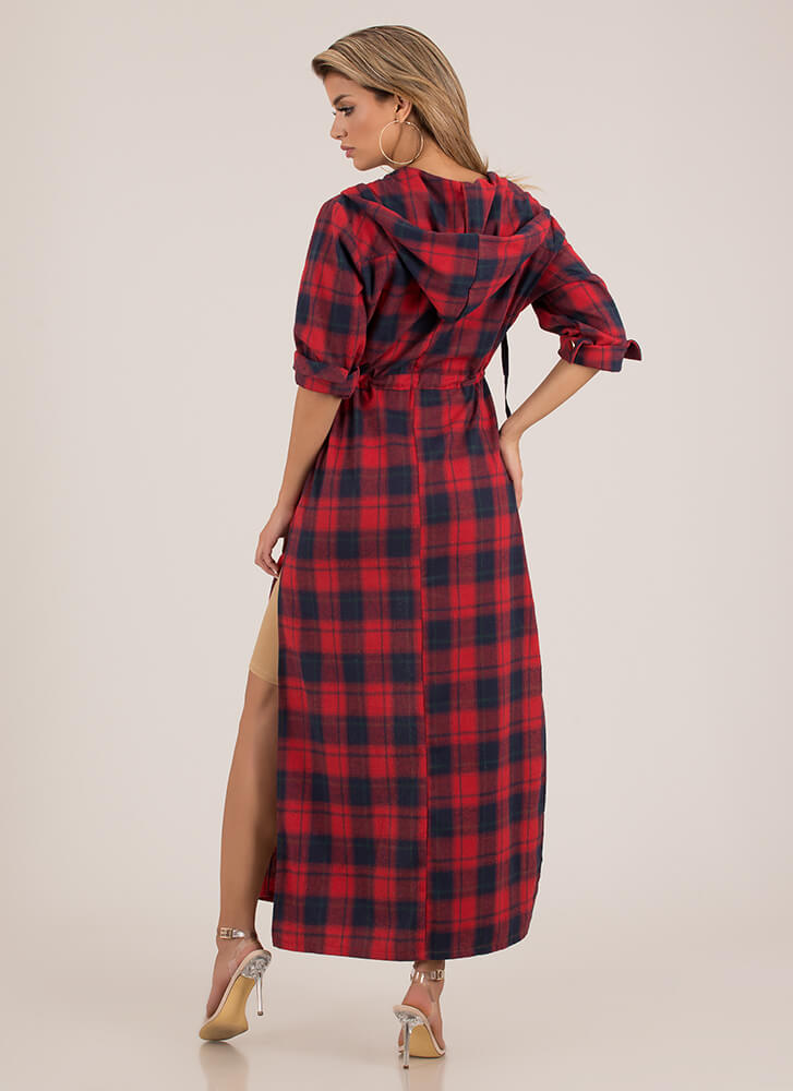 Plaid Girls Only Hooded Flannel Maxi RED