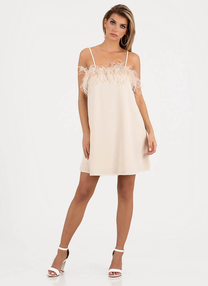 Nightie Night Feather Trim Shift Dress BEIGE