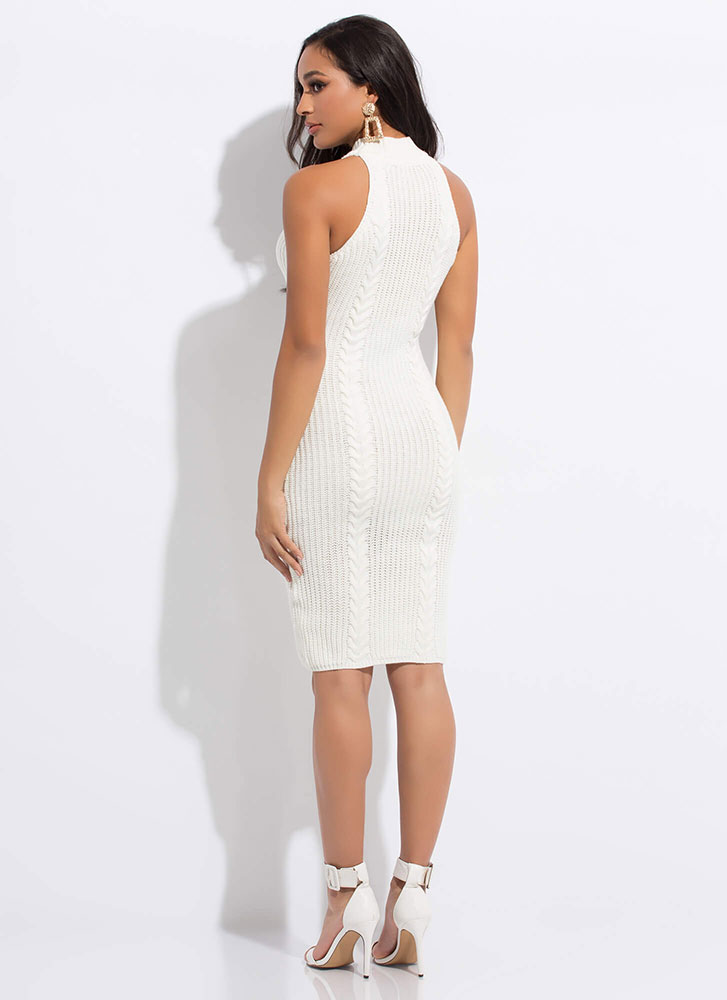 Premium Cable Knit Sweater Dress IVORY
