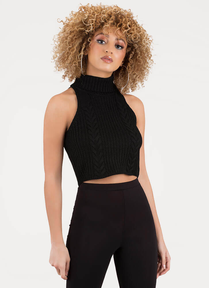 Cute Turtleneck Cable Knit Crop Top BLACK