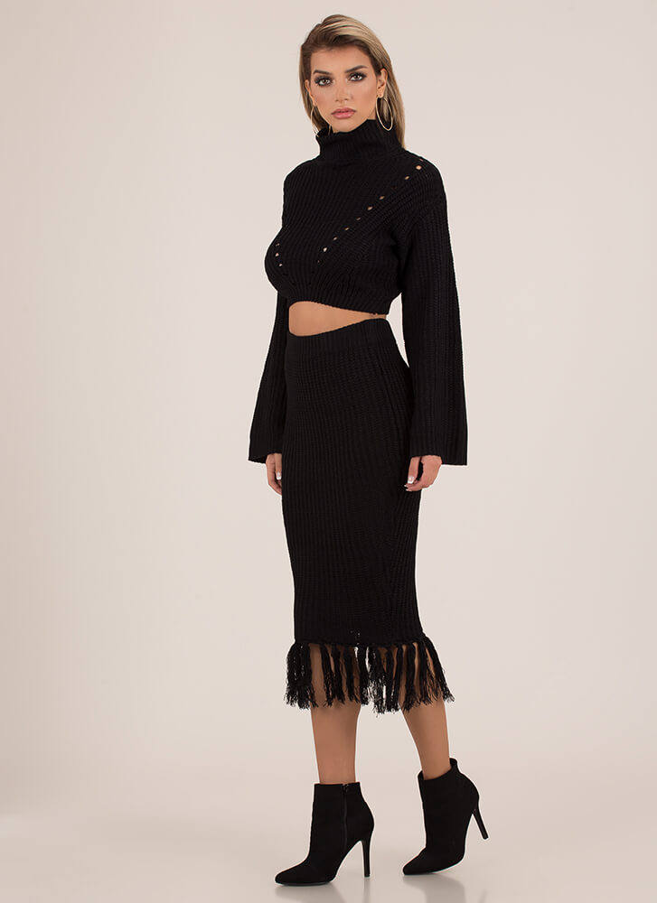 Knit Girl Tasseled 2-Piece Sweater Dress BLACK