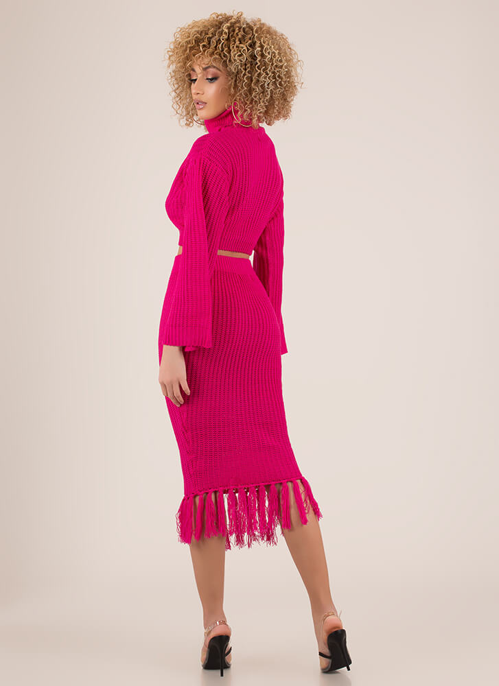 Knit Girl Tasseled 2-Piece Sweater Dress NEONPINK