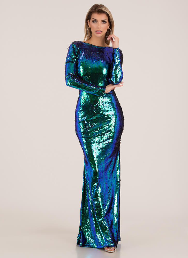 Mermaid Transformation Sequined Gown GREENMULTI