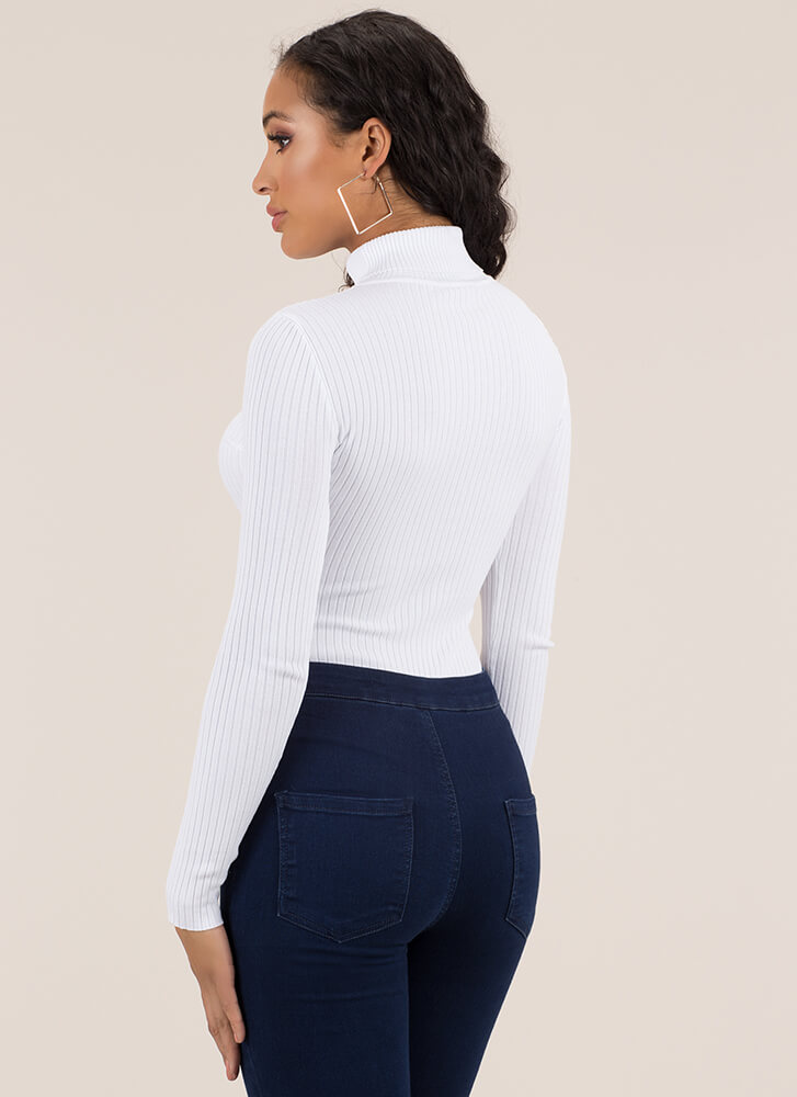 Layered Look Ribbed Turtleneck Bodysuit WHITE (Final Sale)