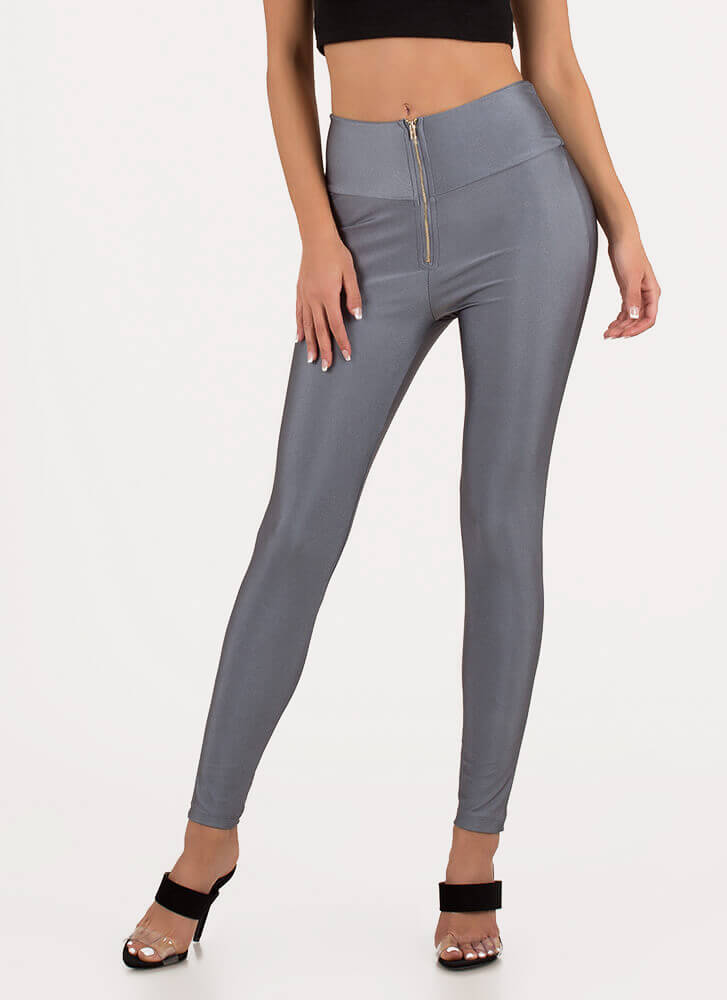 Hug Me Zip-Front Nylon Leggings GREY