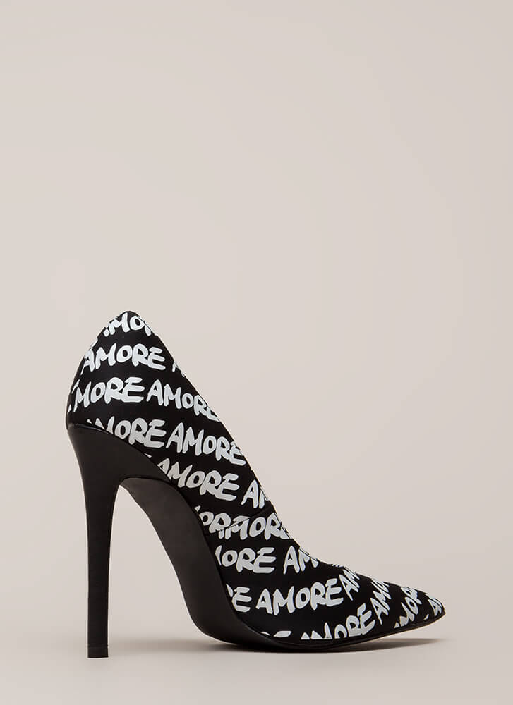 That's Amore Pointy Graphic Pumps BLACK