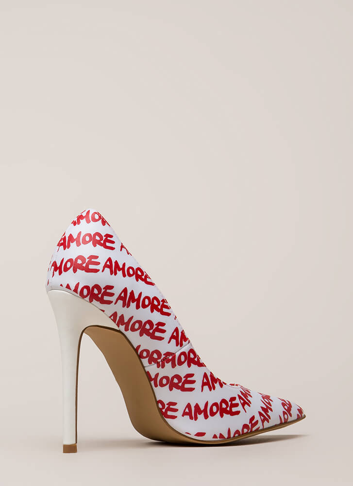 That's Amore Pointy Graphic Pumps WHITE