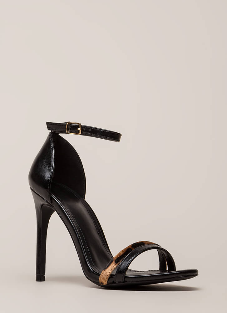A Little Leopard Ankle Strap Heels BLACK