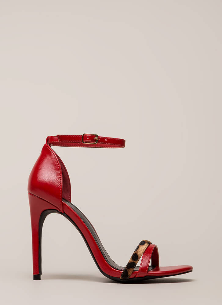 A Little Leopard Ankle Strap Heels RED