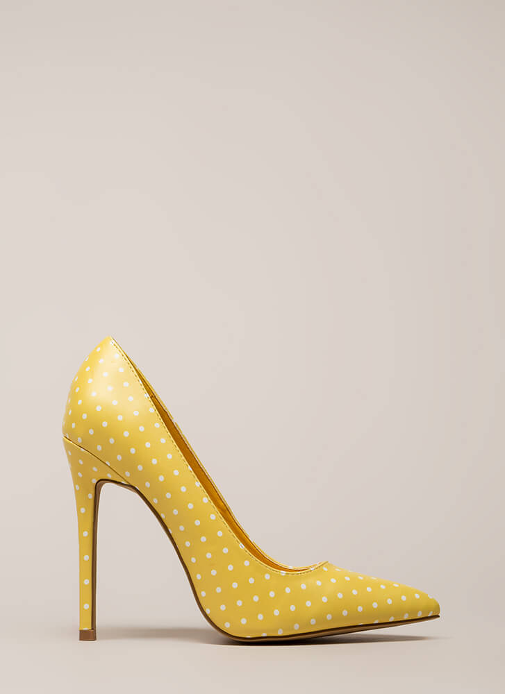 Just Spotted Pointy Polka Dot Pumps YELLOW