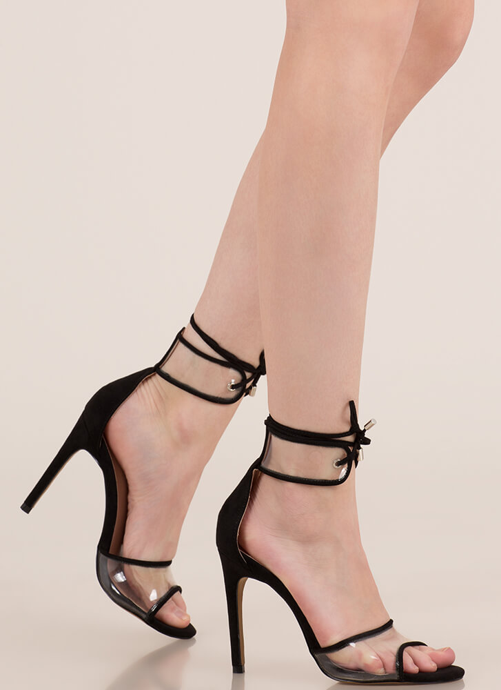 Stand Clear Lace-Up Peep-Toe Heels BLACK