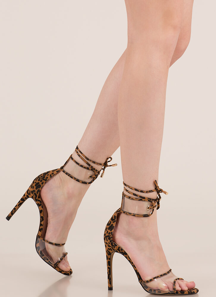 Stand Clear Lace-Up Peep-Toe Heels LEOPARD