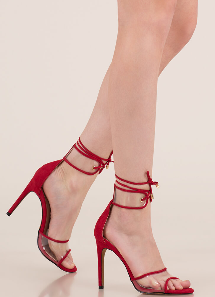 red clear strap heels