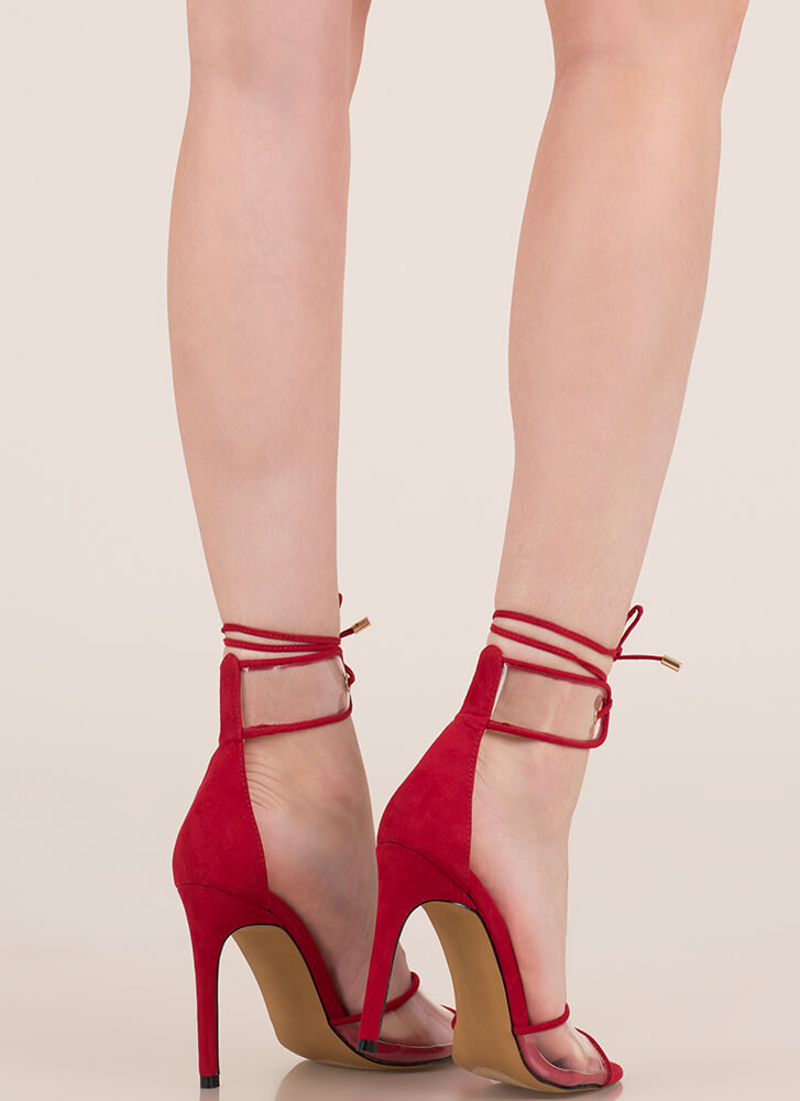 Stand Clear Lace-Up Peep-Toe Heels RED