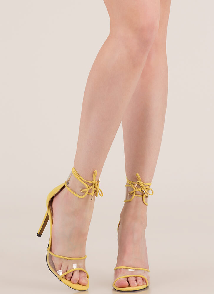 Stand Clear Lace-Up Peep-Toe Heels YELLOW