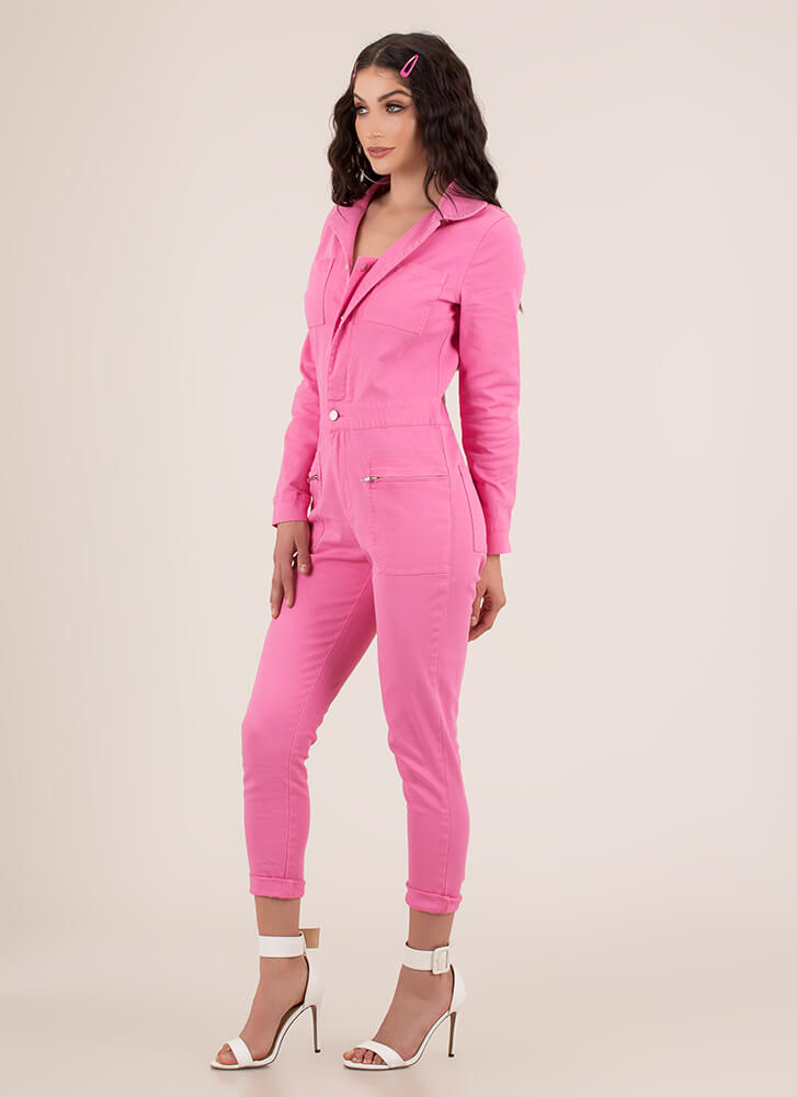 Ready And Willing Denim Jumpsuit PINK
