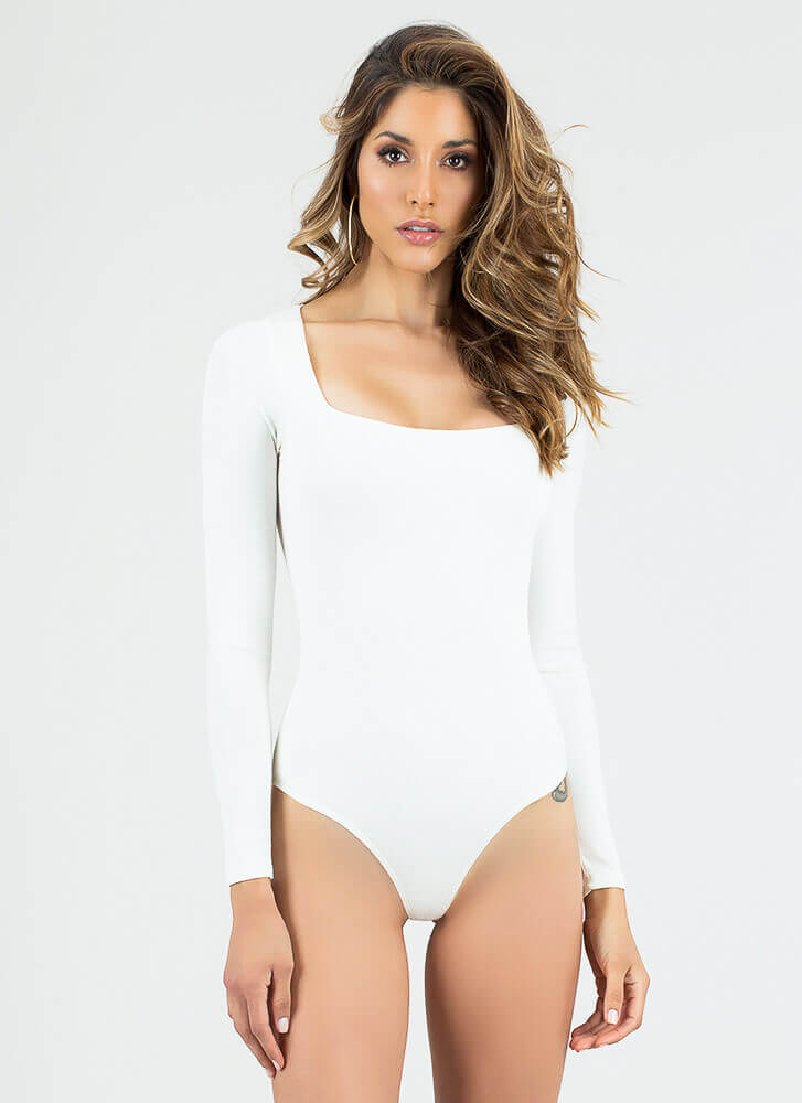 Squared Away Ribbed Thong Bodysuit WHITE