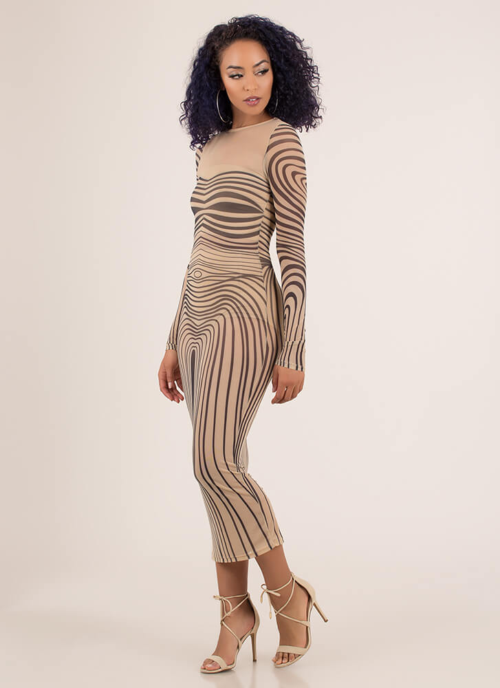 Curves For Days Graphic Mesh Maxi NUDE