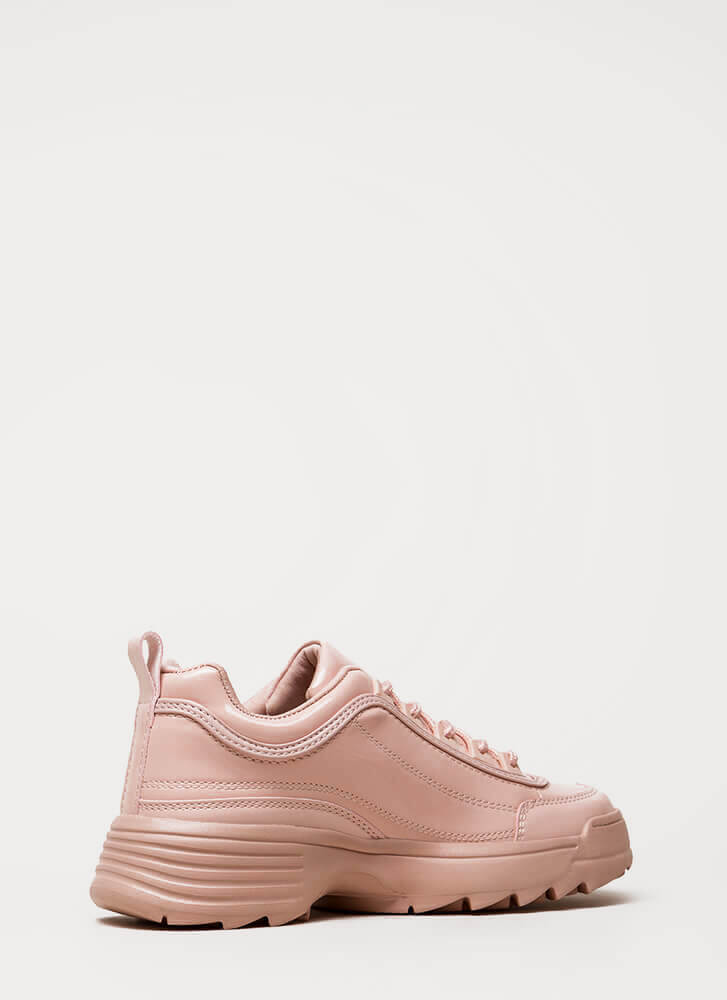 Running Smoothly Faux Patent Sneakers PINK (Final Sale)