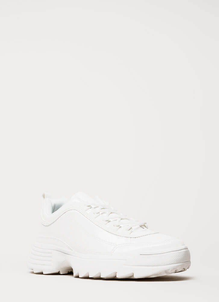 Running Smoothly Faux Patent Sneakers WHITE