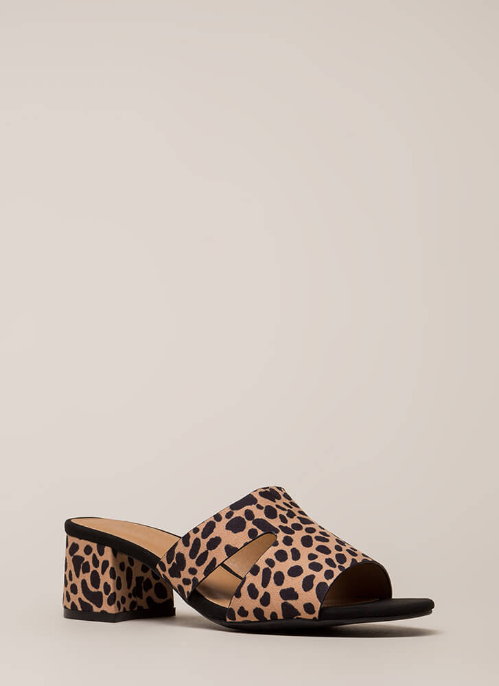 Block Party Chunky Spotted Mule Heels TAN (Final Sale)