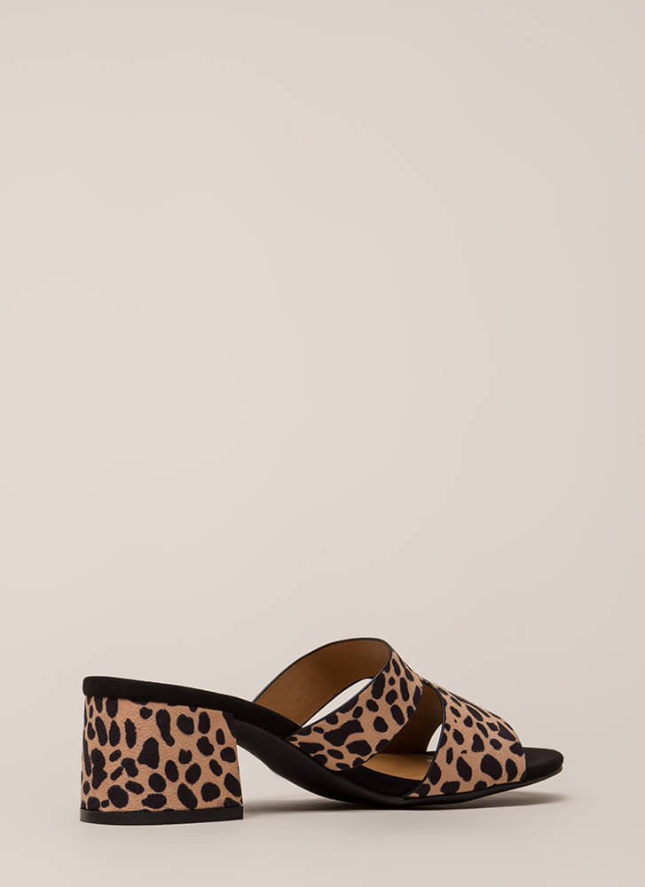 Block Party Chunky Spotted Mule Heels TAN