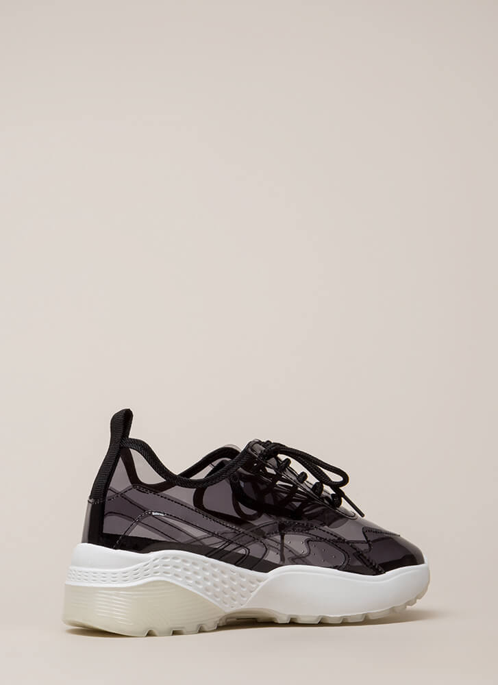 Clear Winner PVC Platform Sneakers BLACK