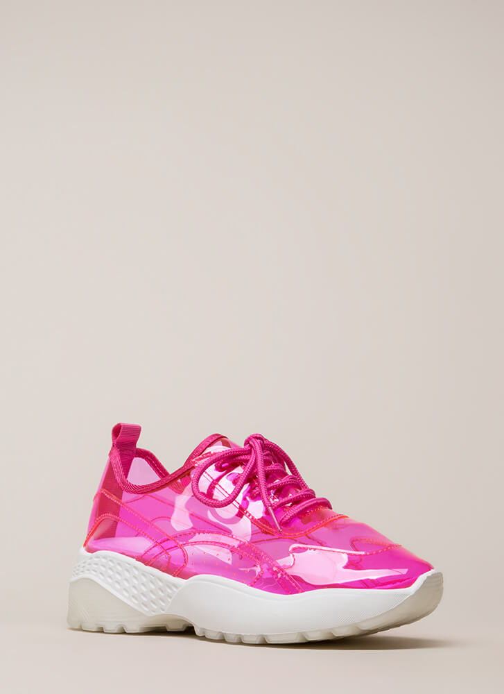 Clear Winner PVC Platform Sneakers PINK