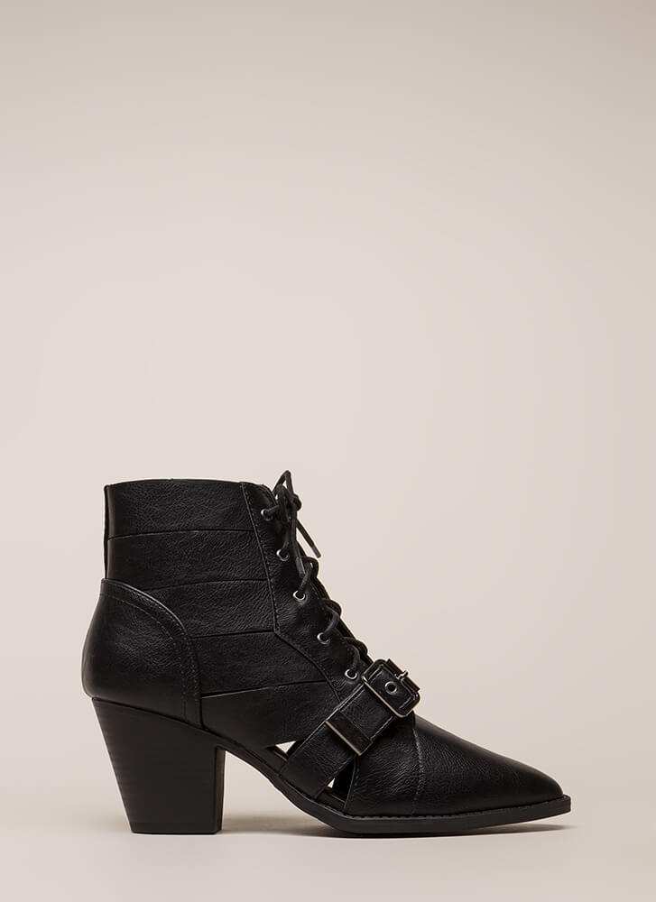 Need To Vent Strappy Lace-Up Booties BLACK